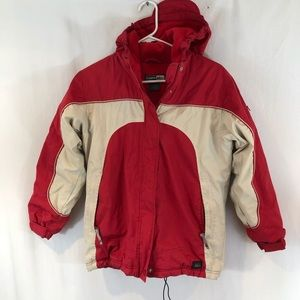 REI Girls Youth Puffer Jacket  Sz L 12 14 red Tan
